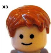 LEGO® 3 Pieces Male Hair Orange / Ginger for Minifigs NEW
